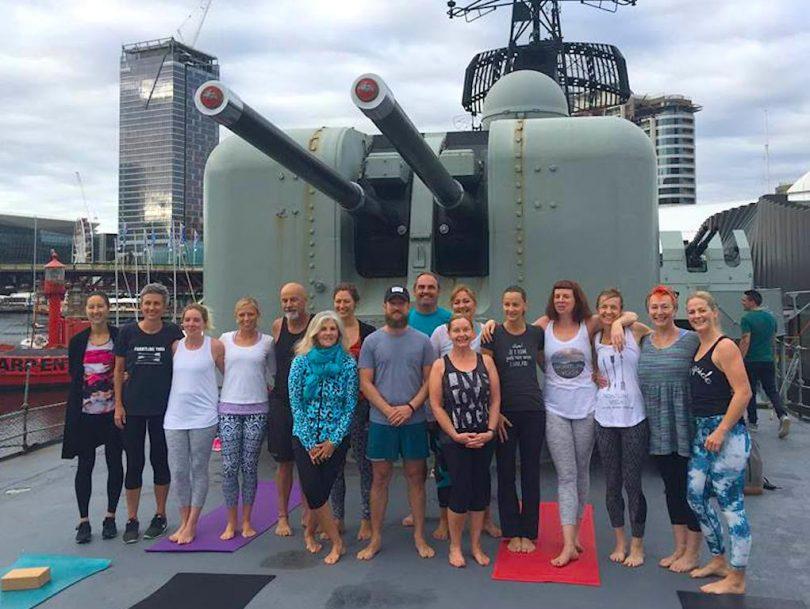 Frontline Yoga class on HMAS Vampire